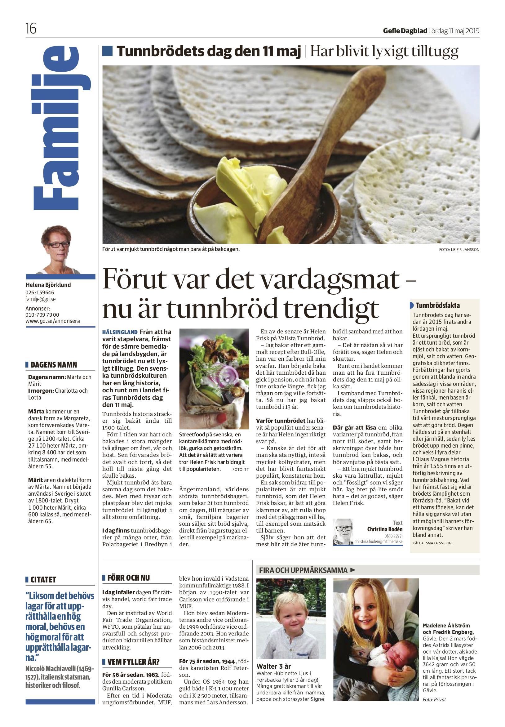 Gefle Dagblad m.fl 2019-05-11